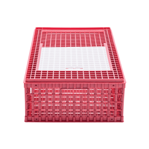 Small plastic crate for chicken transportation with an upper sliding door, item no. 1510-01