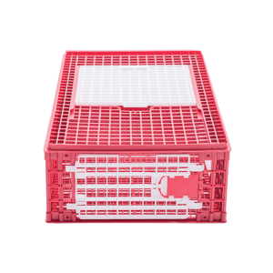 Small plastic crate for chicken transportation with upper sliding door and front door, item no. 1511-01