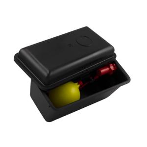 Serbatoio in plastica nera con coperchio e valvola galleggiante, art. 145/EN
