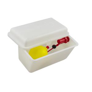 Serbatoio in plastica bianca con coperchio e valvola galleggiante, art. 145/E