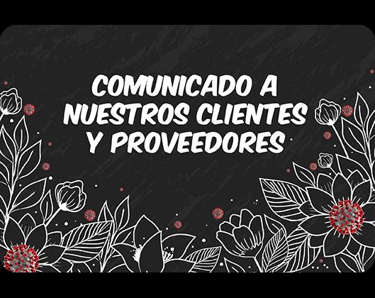 Comunicado a clientes y proveedores